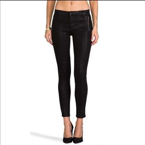 J Brand Moto Skinny in Coated Black Quartz jeans